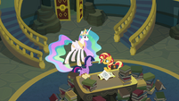 Sunset talking with Twilight and Celestia EGFF