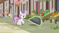 Sweetie Belle looks for Big Mac under a rock S7E8