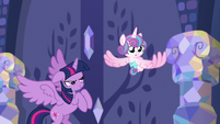 Twilight Sparkle sneaks up on Flurry Heart S7E3