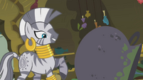 Zecora looks at the spilled bowl S1E09