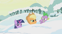 Applejack and Spike chastise Twilight S1E11