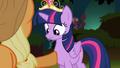 Applejack points her hoof at Twilight S4E02.png