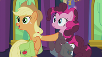 Applejack pulls out of Pinkie's hug S5E20