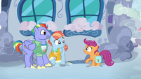 Bow and Windy delighted to meet Scootaloo S7E7