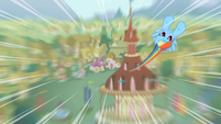 Dash zooming toward the screen S2 opening