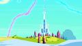 Distant view of the Crystal Empire oasis in the snow S3E02.png