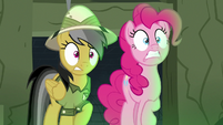 Pinkie and Daring Do look straight ahead nervously S7E18