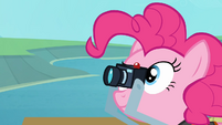 Pinkie takes a picture of the eagle catching the fish S4E09