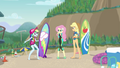 Rainbow, Fluttershy, and Applejack on the beach EGDS19.png