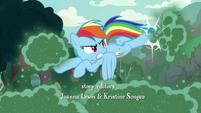 Rainbow Dash kicking the Fly-der swarm away S7E16
