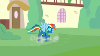 Rainbow Dash lands gently on the ground S9E3