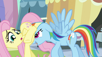 Rainbow Dash moving Fluttershy along S3E2