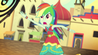 Rainbow Dash throwing Daring Do's whip EGS2