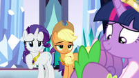 Rarity and Applejack smile at Twilight S9E1