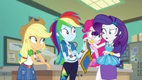 Rarity taking yearbook out of Rainbow's hands EGFF