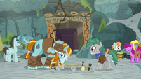 Rockhoof digging with archaeology team S8E21