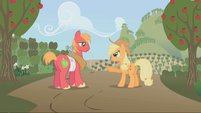 S01E04 Big Mac i Applejack na tle sadu