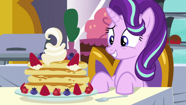 File:Starlight Glimmer looks at her pancake breakfast S7E10.png