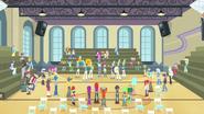 Todos reunidos en el gimnasio