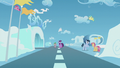 Twilight and Spike surrounded by Pegasi S5E25.png