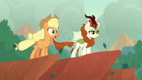 AJ and Autumn Blaze look over cliff's edge S8E23