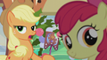 Applejack and Apple Bloom look at Pinkie S5E20.png
