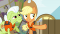 Applejack pointing to cave S4E09.png