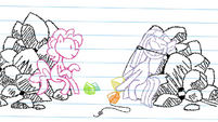 Drawing of Maud making rock candy necklace S4E18