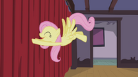 Fluttershy pushing the curtain S4E14