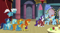 Other ponies listening to Rarity's explanation S5E15