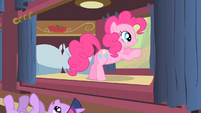 Pinkie Pie looking outside the window at buffalo S1E21