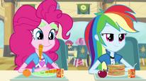 Rainbow and Pinkie listen to Sunset EG2