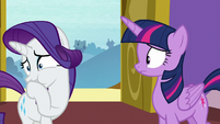 Rarity talking through her fake cough S9E19