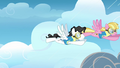 The two pegasi about to go through the rainclouds S3E07.png