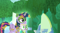 Twilight and Spike follow Zecora S5E26
