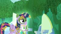 Twilight and Spike follow Zecora S5E26