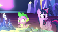 Twilight and Spike hear Starlight Glimmer S7E15