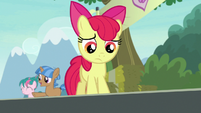Apple Bloom frowning down at Rumble S7E21