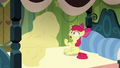 Apple Bloom rises up from bed with AJ covered by blanket S5E04.png