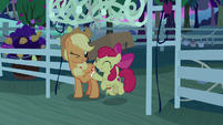 Applejack and Apple Bloom hoof-bump S9E10