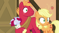 Big Mac and Applejack hear Granny coming back S6E23