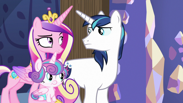 File:Cadance and Shining Armor look unamused MLPBGE.png