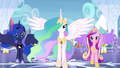 Celestia, Luna, and Cadance stepping forward S4E25.png