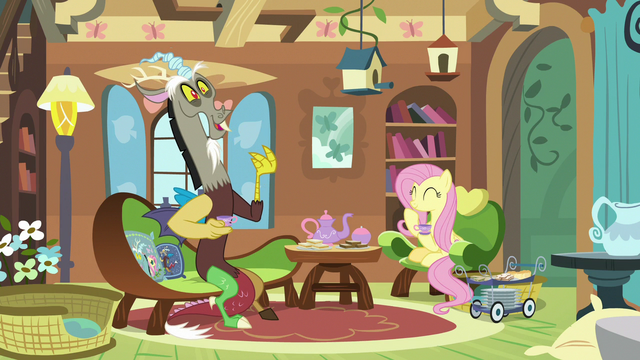 File:Fluttershy and Discord having a tea party S7E12.png