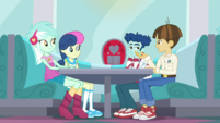 Lyra, Bon Bon, Curly, and Wiz Kid sitting together SS15