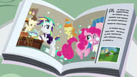 Magazine photo of Rarity helping Pinkie Pie S7E19