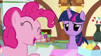 Pinkie reads Salespony's favorite treat file S7E3