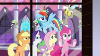Ponies and Spike look mad at Discord S9E17