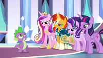 Ponies look angry as Spike sings S6E16