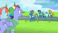 Rainbow nervously approaches her parents S7E7